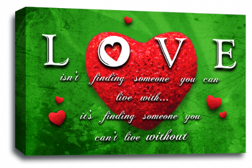 Love Heart Wall Art Picture Quote Red Green Grey Canvas Print